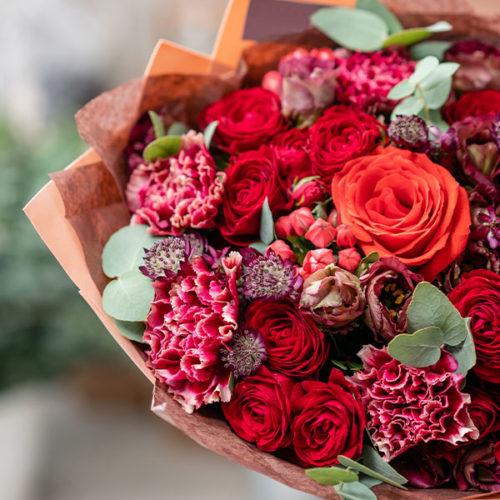 Bouquet du Fleuriste tons rouge